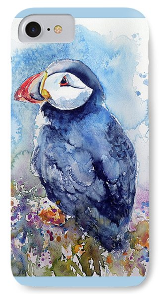Puffin With Flowers IPhone Case by Kovacs Anna Brigitta