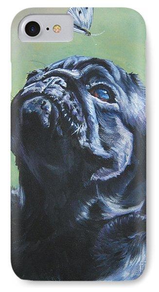 Pug Black  IPhone Case by Lee Ann Shepard