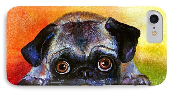 Pug Dog Portrait Painting IPhone Case by Svetlana Novikova