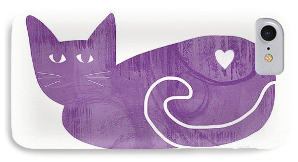 Purple Cat- Art By Linda Woods IPhone Case by Linda Woods