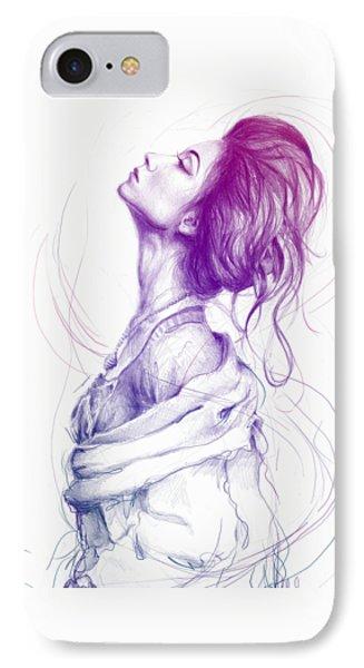 Purple Fashion Illustration IPhone Case by Olga Shvartsur