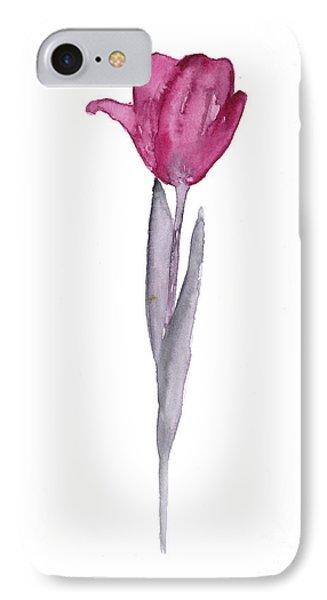 Purple Tulip Botanical Artwork Poster IPhone Case by Joanna Szmerdt