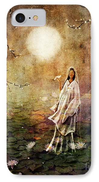 Quan Yin In A Lotus Pond IPhone Case by Laura Iverson