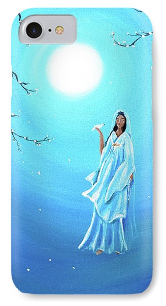 Quan Yin In Teal Moonlight IPhone Case by Laura Iverson