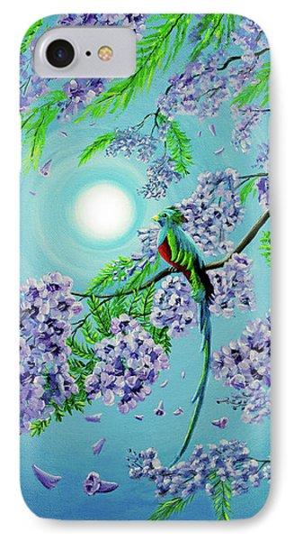 Quetzal Bird In Jacaranda Tree IPhone Case by Laura Iverson