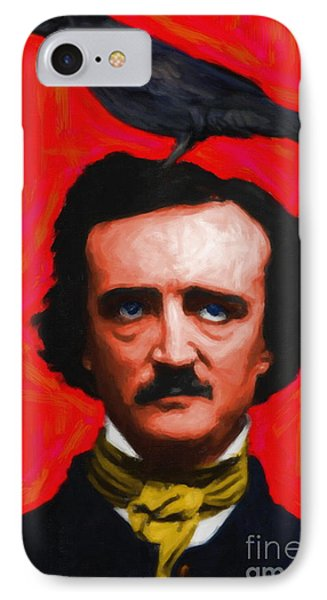 Quoth The Raven Nevermore - Edgar Allan Poe - Painterly - Red -  IPhone Case by Home Decor