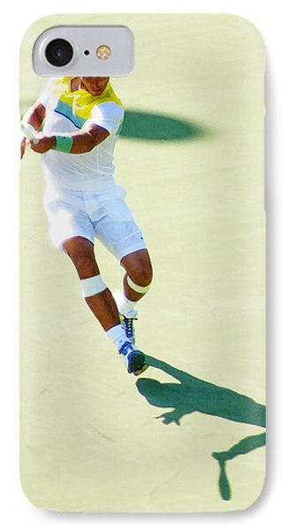 Rafael Nadal Shadow Play IPhone Case by Steven Sparks