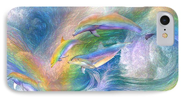 Rainbow Dolphins IPhone Case by Carol Cavalaris