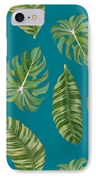 Rainforest Resort - Tropical Leaves Elephant's Ear Philodendron Banana Leaf IPhone Case by Audrey Jeanne Roberts