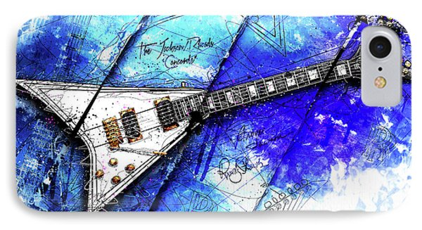 Randy's Guitar On Blue II IPhone 7 Case by Gary Bodnar