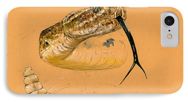Rattlesnake Painting IPhone Case by Juan  Bosco