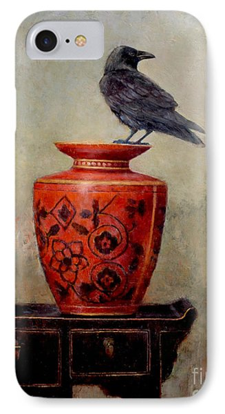 Raven On Red  IPhone Case by Lori  McNee