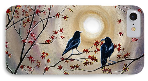 Ravens In Autumn IPhone Case by Laura Iverson