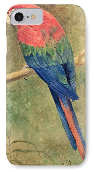 Red And Blue Macaw IPhone 7 Case by Henry Stacey Marks