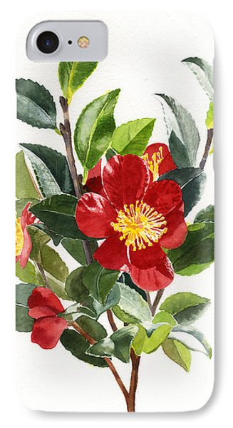 Red Christmas Camellias IPhone Case by Sharon Freeman