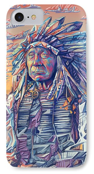 Red Cloud Decorative Portrait IPhone Case by Bekim Art