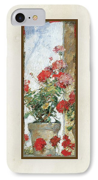 Red Geraniums Against A Sunny Wall IPhone Case by Audrey Jeanne Roberts