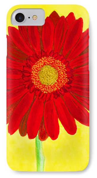 Red Gerbera On Yellow, Watercolor IPhone Case by Irina Afonskaya