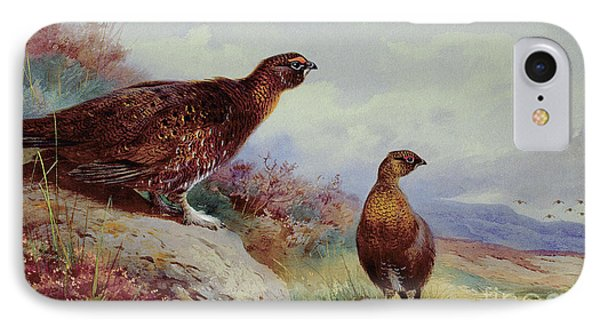 Red Grouse On The Moor, 1917 IPhone 7 Case by Archibald Thorburn