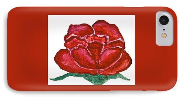 Red Rose On White, Painting IPhone Case by Irina  Afonskaya