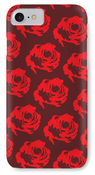 Red Rose Pattern IPhone Case by Cortney Herron