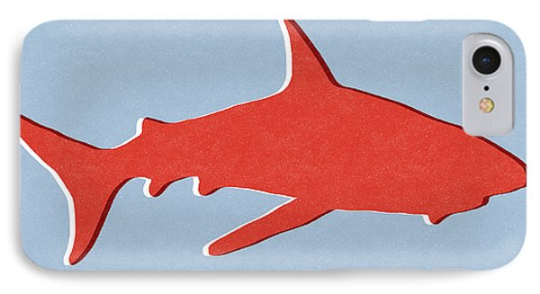 Red Shark IPhone Case by Linda Woods
