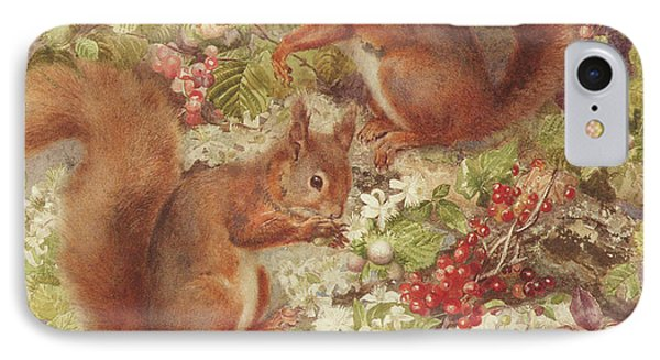 Red Squirrels Gathering Fruits And Nuts IPhone 7 Case by Rosa Jameson