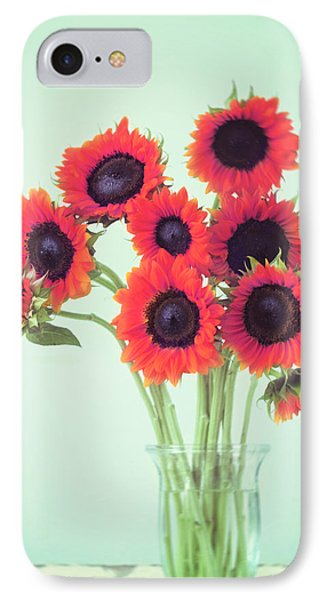 Red Sunflowers IPhone 7 Case by Amy Tyler