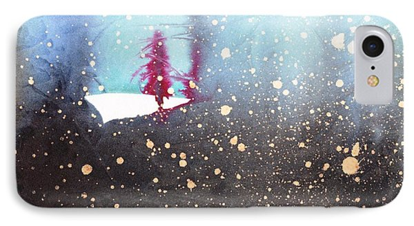 Red Trees In The Snow IPhone Case by Marian Fannon Christian