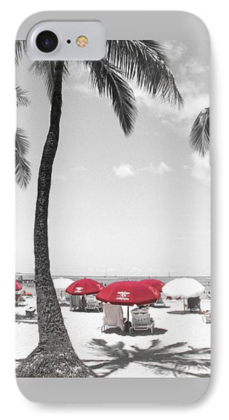 Red Umbrellas On Waikiki Beach Hawaii Phone Case by Kerri Ligatich