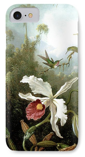Retouched Masters - Orchid And Hummingbirds In Tropical Forest IPhone Case by Audrey Jeanne Roberts