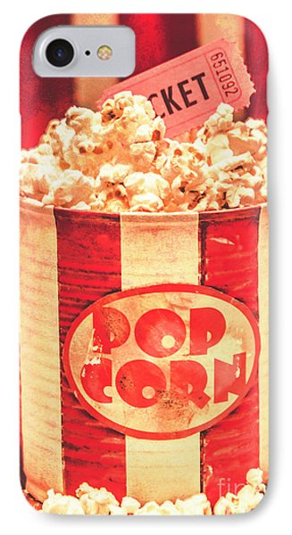 Retro Tub Of Butter Popcorn And Ticket Stub IPhone Case by Jorgo Photography - Wall Art Gallery