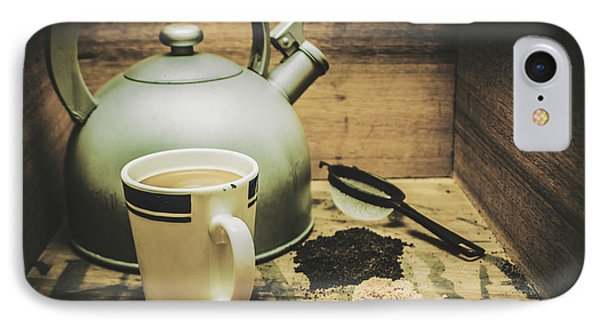 Retro Vintage Toned Tea Still Life In Crate IPhone Case by Jorgo Photography - Wall Art Gallery