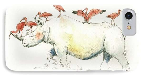 Rhino And Ibis IPhone 7 Case by Juan Bosco