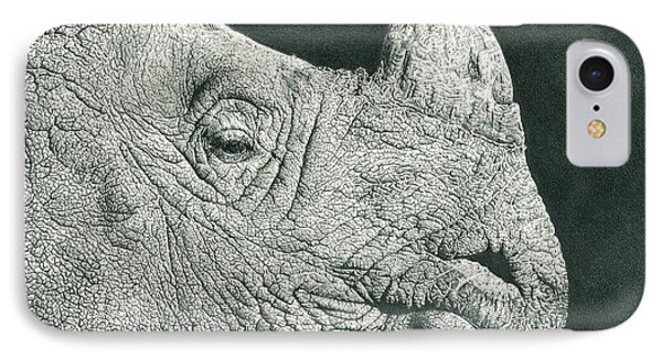 Rhino Pencil Drawing IPhone Case by Remrov