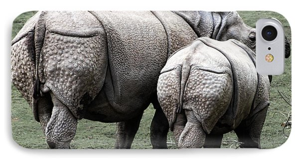 Rhinoceros Mother And Calf In Wild IPhone 7 Case by Daniel Hagerman