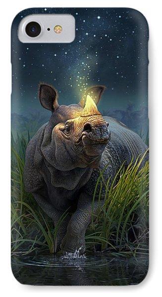 Rhinoceros Unicornis IPhone Case by Jerry LoFaro