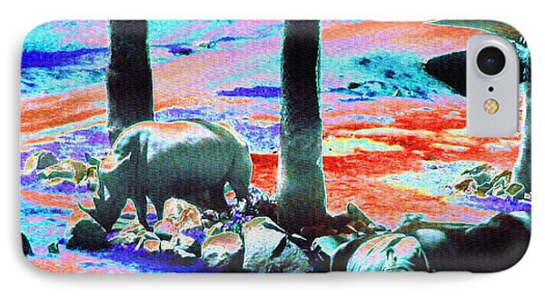 Rhinos Having A Picnic IPhone 7 Case by Abstract Angel Artist Stephen K