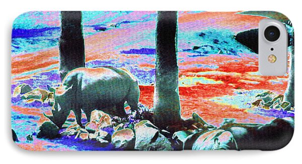 Rhinos Having A Picnic IPhone Case by Abstract Angel Artist Stephen K