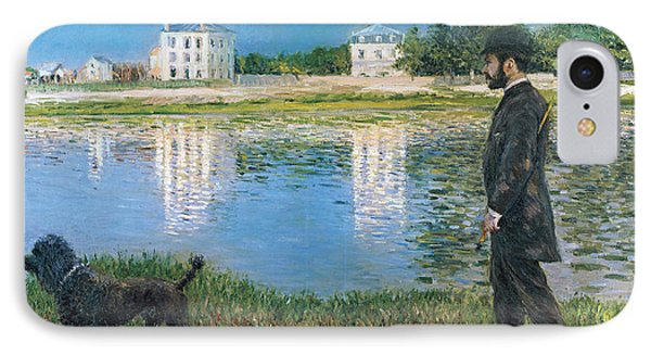 Richard Gallo And His Dog At Petit Gennevilliers IPhone Case by Gustave Caillebotte