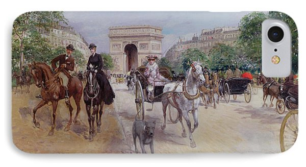 Riders And Carriages On The Avenue Du Bois IPhone Case by Georges Stein