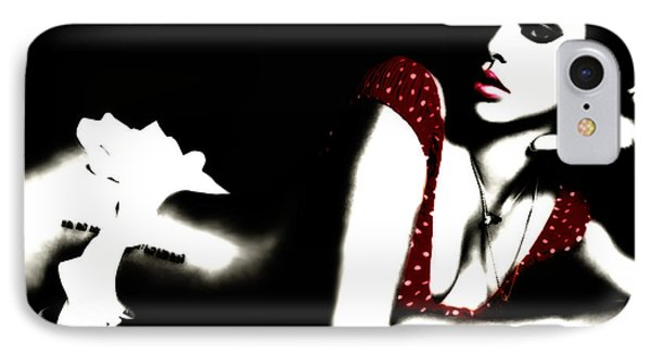 Rihanna In Red IPhone Case by Brian Reaves
