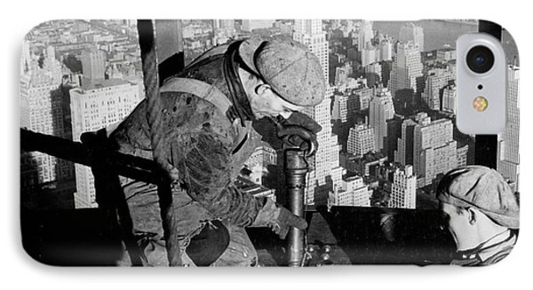 Riveters On The Empire State Building IPhone Case by LW Hine