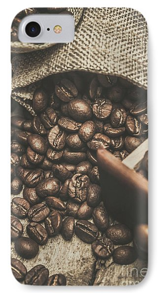 Roasted Coffee Beans In Close-up  IPhone Case by Jorgo Photography - Wall Art Gallery