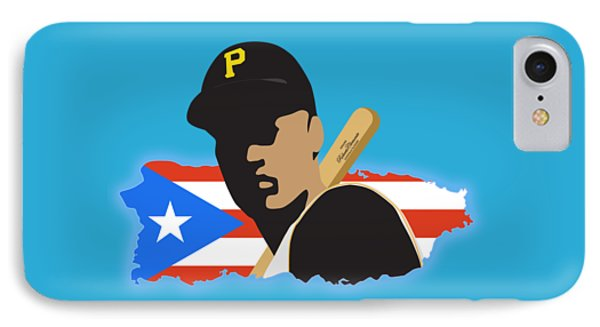 Roberto Clemente T-shirt Graphics IPhone Case by Ron Regalado