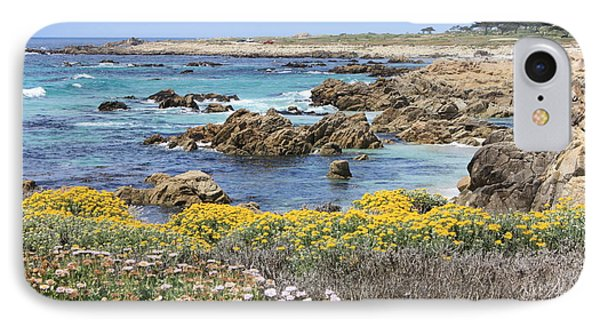 Rocky Surf With Wildflowers Phone Case by Carol Groenen