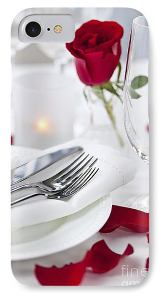 Romantic Dinner Setting With Rose Petals IPhone Case by Elena Elisseeva