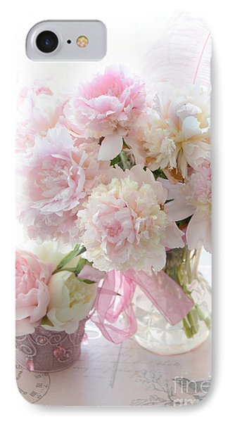 Romantic Shabby Chic Pink White Peonies - Shabby Chic Peonies Pastel Decor IPhone Case by Kathy Fornal