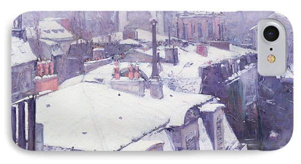 Roofs Under Snow IPhone 7 Case by Gustave Caillebotte