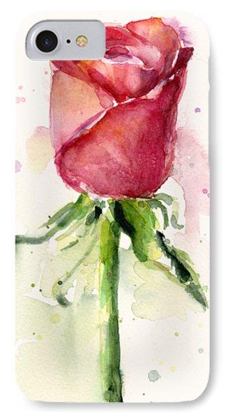 Rose Watercolor IPhone 7 Case by Olga Shvartsur